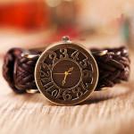 Fashion Vintage Braided Hollow Leather Quartz Watch Watch