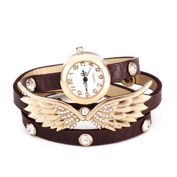 Fashion Wing Crystal Rhinestone Women Bracelet Leather Quartz Watch Watch