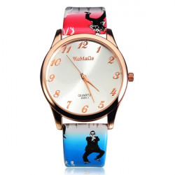 Fashion WoMaGe Black Blue Big Dial Women Leather Quartz Wrist Watch