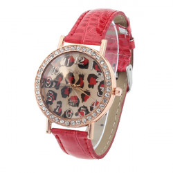 Fashion WoMaGe Red Crystal Leopard Leather Women Quartz Wrist Watch