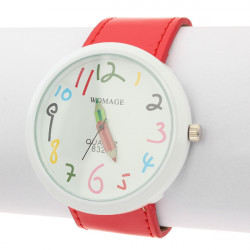 Fashion Womage Number Pencil Red Leather Women Sport Quartz Watch
