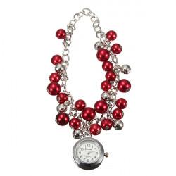 Fashion Women Beads Cuff Quartz Chain Bracelet Wrist Watch