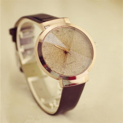 Fashion Women Gold Sands Pattern Babysbreath PU Leather Quartz Watch