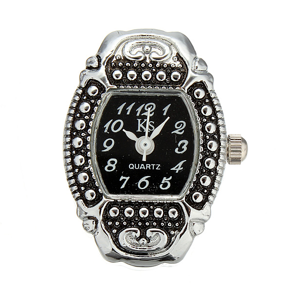 Fashion Women Vintage Style Finger Ring Watch Black Dial Watch