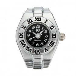 Fashion Women Vintage Style Finger Ring Watch Black Dial
