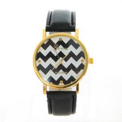 Fasion Women Waves Pattern PU Leather Round Quartz Watch