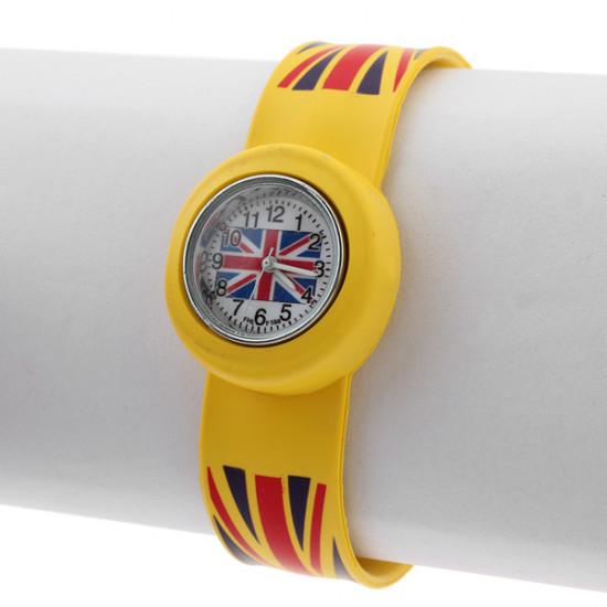 Flag UK Union Jack Candy Snap Silicone Rubber Quartz Analog Watch 2021