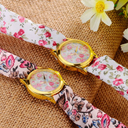 Floral Fabric Band Golden Case Live Waterproof Analog Watch