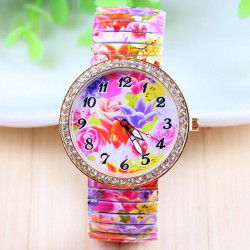 Flowers  Printed Rhinestone Elastic Stainless Steel Band Watch