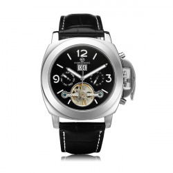Forsining Flywheel 3 Dial Week Calendar Leather Mechanical Men Watch