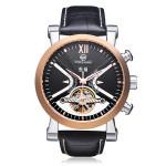 Forsining Flywheel 3 Dial Week Calendar Leather Mechanical Men Watch Watch