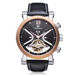 Forsining Flywheel 3 Dial Week Calendar Leather Mechanical Men Watch