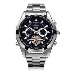 Forsining Stailness Steel Date Week Flywheel Men Mechanical Watch