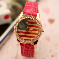 GOGO1973 American Flag Diamond Shinning Quartz Leather Wrist Watch