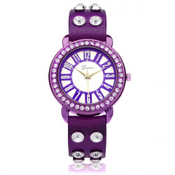 Geveva PU Leather Crystal Rhinestone Number Round Women Wrist Watch