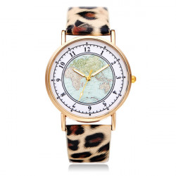 Geveva PU Leather Map Leopard Number Round Women Wrist Watch