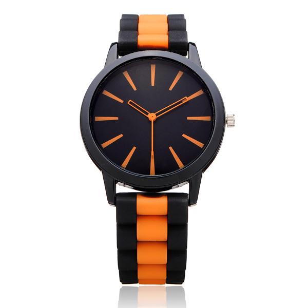 Geveva Silicone Round Big Dial Jelly Women Wrist Quartz Watch Watch