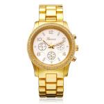 Geveva Stainless Steel 3 Dial Number Crystal Women Quartz Wrist Watch Watch