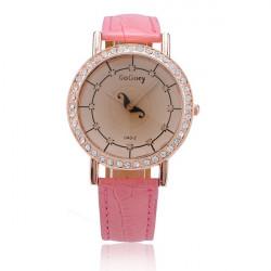 GoGoey Women Leather Quartz Rhinestone Fashion Wrist Watch