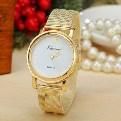 Gold Stainless Steel Band No Number Quartz Watch