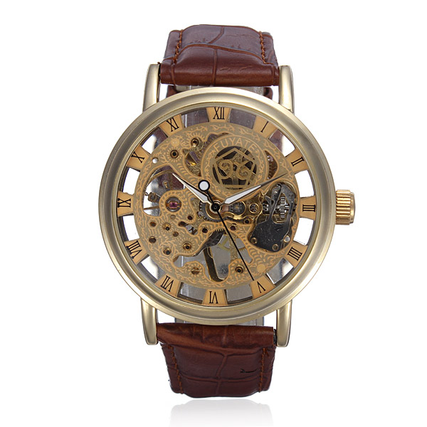 Gold Tone Skeleton Leather Mechanical Hand Wind Wrist Watch Watch