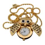 Golden Silver Owl Pendant Necklace Chain Quartz Pocket Watch Watch