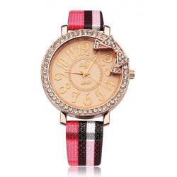 Grid Leather Crystal Bowknot Round Women Quartz Wrist Watch