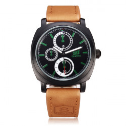 Guote G10001 PU Leather 3 Dial Round Men Wrist Quartz Watch