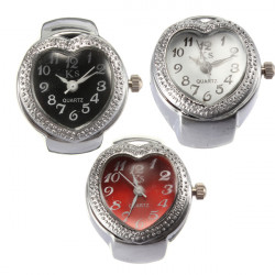 Heart-shaped Pattern Elastic Silver Women Finger Ring Watch 3 Colors