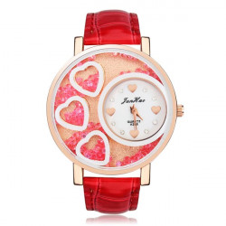 Heart Crystal Rhinestone Women Leather Quartz Wrist Watch