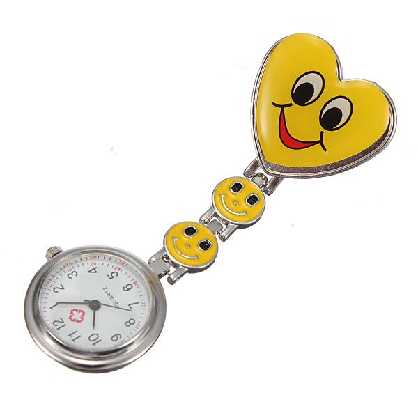 Heart Shape Style Cute Colourful Pocket Nurse Watch Pin Brooch