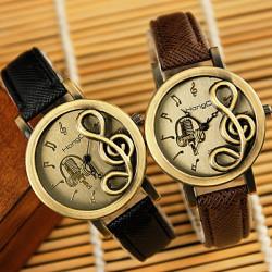 HongC 257 Music Note PU Band Metal Case Quartz Watch