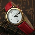HongC 291 Vintage Artificial Leather Band Metal Case Quartz Watch Watch