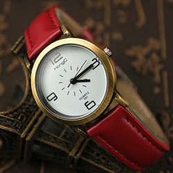HongC 291 Vintage Artificial Leather Band Metal Case Quartz Watch