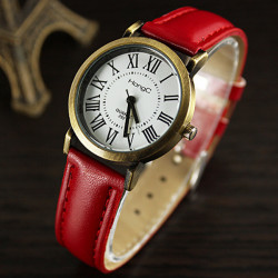 HongC 292 Vintage Roman Number PU Leather Band Analog Quartz Watch