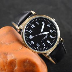 HongC Vintage PU Band Big Dial Analog Quartz Watch