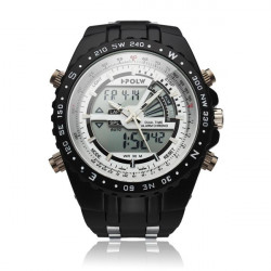 Hpolw Black Sport Rubber Alarm Waterproof Men Quartz Wrist Watch
