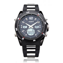 Hpolw Sport Big Dial Black Back Light Military Men Wrist Watch