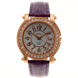 IBELI Crystal Purple Leather Band Ladies Women Wrist Watch