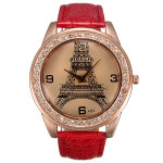 IBELI Large Crystal Faux Diamond Eiffel Tower Red Leather Strap Watch Watch