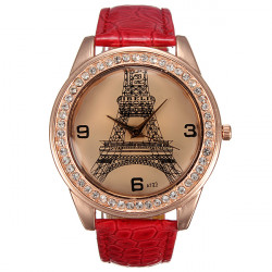 IBELI Large Crystal Faux Diamond Eiffel Tower Red Leather Strap Watch