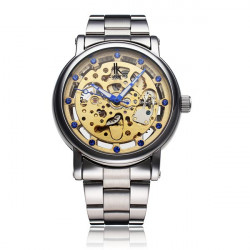 IK 98228G Mechanical Men Silver Gold Skeleton Wrist Watch