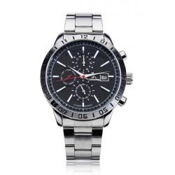 IK 98303 3 Dial Black White Stainless Steel Calendar Men Wrist Watch