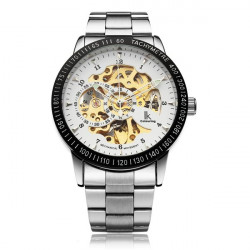 IK Mechanical Stainless Steel Skeleton Dial Gold Men Wrist Watch