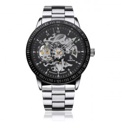 IK Stainless Steel Skeleton Night Light Men Mechanical Watch