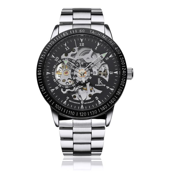 IK Stainless Steel Skeleton Night Light Men Mechanical Watch Watch