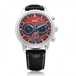 JARAGAR 3 Dial Mechanical Automatic Black Red Men Wrist Watch