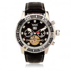 JARAGAR Black PU Band No Number Mechanical Watch