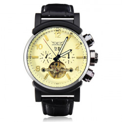 JARAGAR Luxury Automatic Mechanical Leather Men Wrist Watch