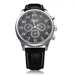 JARAGAR Mechanical Automatic 3 Dial Number White Black Men Watch